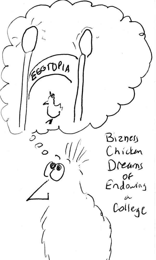 Chicken dreaming of university gate