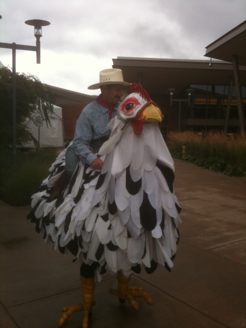 Chicken man photo by Jim Geist