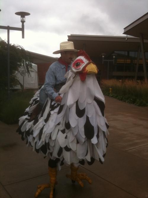 Chicken man photo by Jim Geist