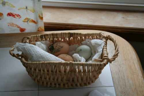 Wicker basket lined with paper towel and dirty eggs