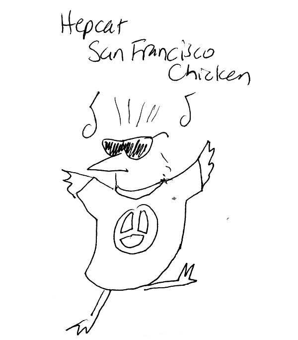 dancing chicken with sunglasses and peace sign tshirt