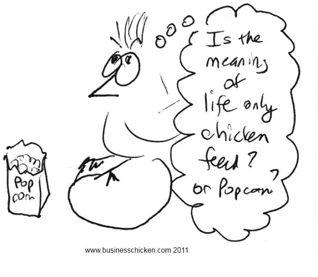 chicken pondering with bag of popcorn