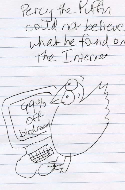 Percy the Puffin could not believe what he found on the Internet (sales)