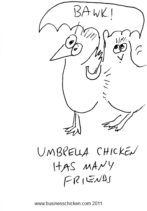 two chickens under an umbrella